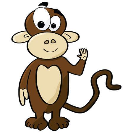 cute cartoon: Cartoon illustration of a cute monkey waving