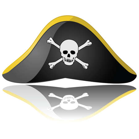 Glossy illustration of a pirate hat reflected on a white background Stock Illustratie