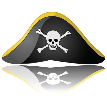 pirata: Ilustraci�n brillante de un sombrero de pirata reflexion� sobre un fondo blanco