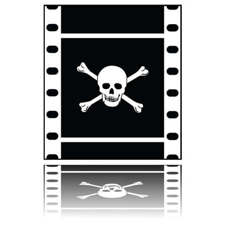 두개골과 십자가 뼈와 함께 영화를 보여주는 컨셉 일러스트레이션, 불법 복제 영화를 상징 함. 일러스트