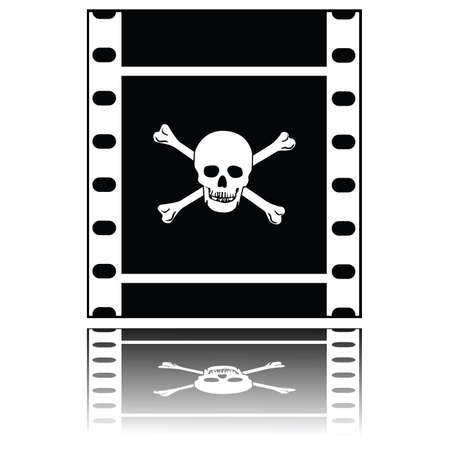 skull and crossed bones: Ilustraci�n concepto de una tira de pel�cula con un cr�neo y huesos cruzados, simbolizando copias piratas de pel�culas