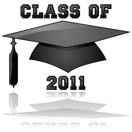 kudos: Glossy illustration of a hat and the words Class of 2011, reflected on a clear background