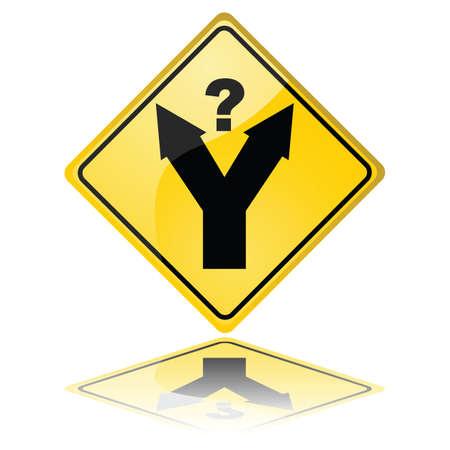 meaning: Ilustraci�n del concepto de una se�al de tr�fico con un tenedor en la carretera, con un signo de interrogaci�n significa una decisi�n debe hacerse
