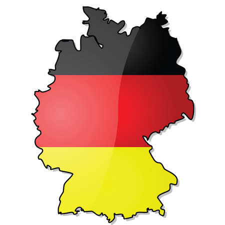Glossy illustration showing the map of Germany with its flag over it Ilustração