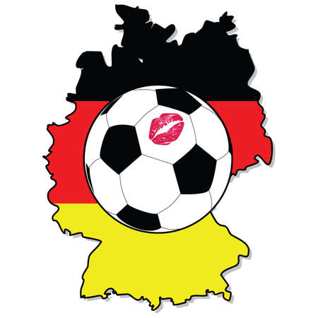 Illustration of a soccer ball with a lipstick mark on it over a map of Germany with the countrys flag Vector