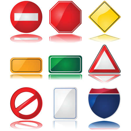 diamond plate: Set of glossy illustrations with different shapes of common traffic signs