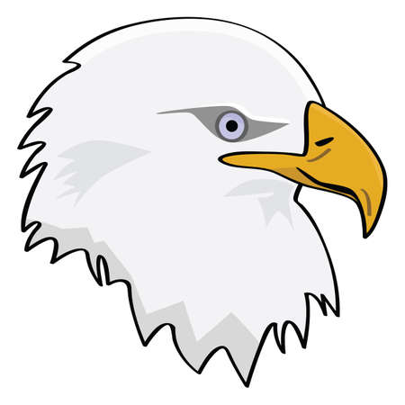 Cartoon illustration of the head of an eagle