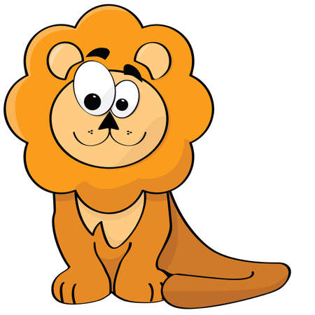 Cartoon illustration of a cute and happy lion Vector