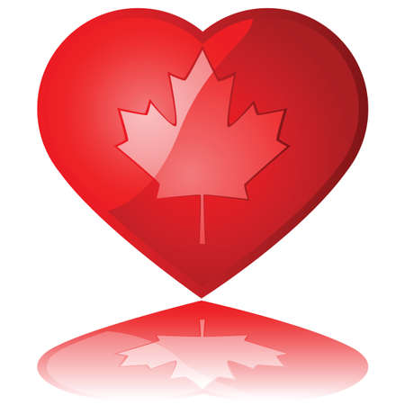 Glossy illustration showing a maple leaf inside a heart Stock Vector - 9418764