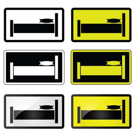 hospedaje: Conjunto de ilustraciones que muestra un cartel con una cama, para un hotel, albergue, habitaci�n, etc.