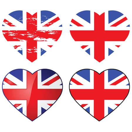 Set of four Union Jack flags shaped like a heart Stock Illustratie