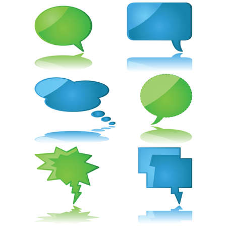Glossy illustration set of speech and thought bubbles