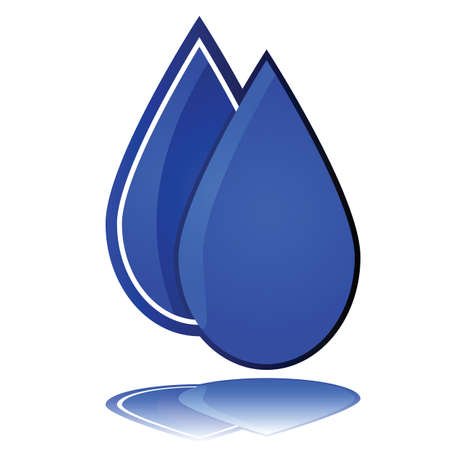 Glossy illustration showing one water drop in front of another Ilustração