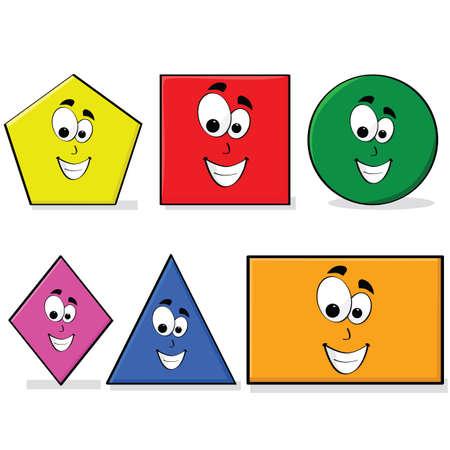 幸せな漫画の顔は、基本的な幾何学を学ぶ子供のための偉大なさまざまな色の図形の図