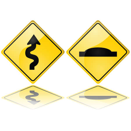 danger ahead: Glossy illustrations showing a series of curves and a speed bump, meaning trouble ahead