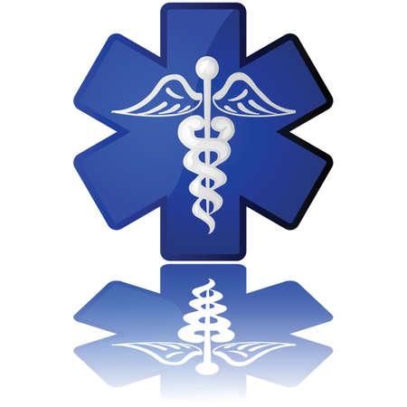 白と青に医療のアイコンが表示された光沢のあるイラスト  イラスト・ベクター素材