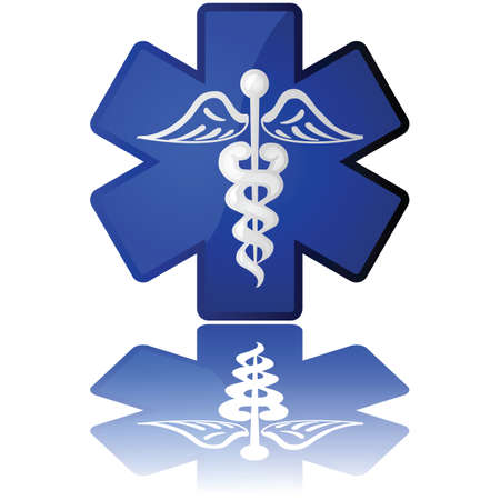 Glossy illustration in white and blue showing a medical icon Illustration