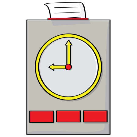 Cartoon illustration of a punch clock with a card on top Çizim