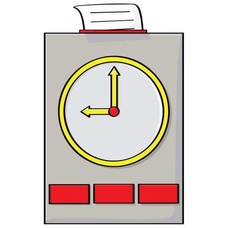 office clock: Ilustraci�n animada de un reloj de golpe con una tarjeta en la parte superior