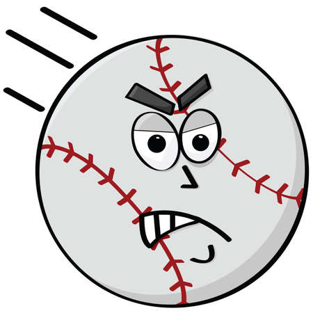 Cartoon illustration of an angry baseball flying Vector