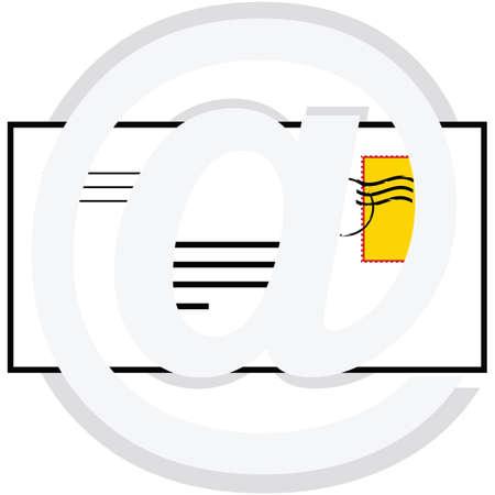 押された手紙を示す概念図、@ 記号を表す電子メール  イラスト・ベクター素材