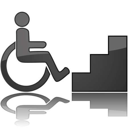accessibilit�: Illustrazione di concetto che mostra una sedia a rotelle davanti alle scale, per rappresentare qualcosa inaccessibile