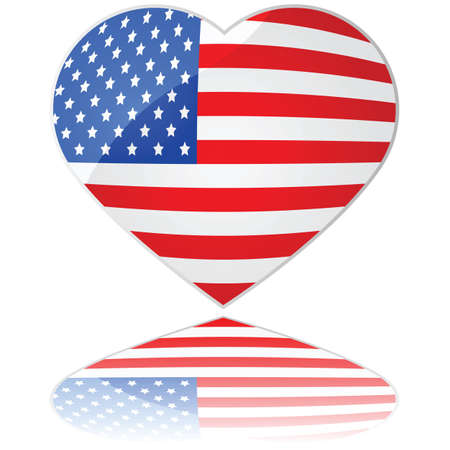 stripe: Glossy illustration showing a heart with the flag of the United States of America