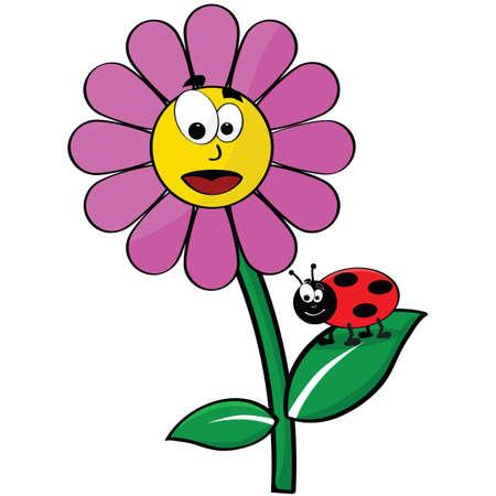 jardines con flores: Ilustración animada de una flor feliz y un mariquita
