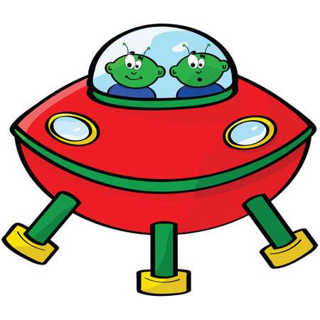 Cartoon illustratie van een vliegende saus met twee groene vreemdelingen