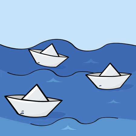 Cartoon illustration of three paper boats floating down the water
