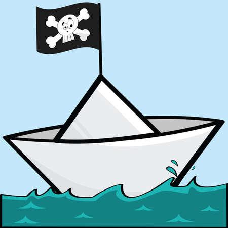 Cartoon illustratie van een boot papier met een piraat vlag