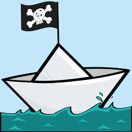 paper boat: Cartoon illustration of a paper boat with a pirate flag