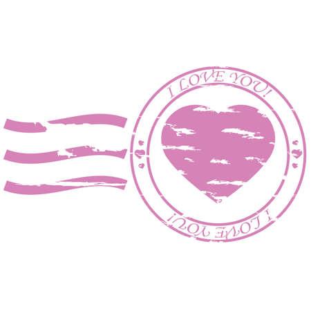 Illustratie van een postzegel met een hart in het midden en de woorden 'I love you' rond het