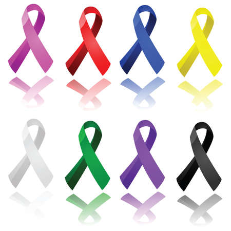 Set of glossy ribbons in different colors, to raise awareness for different causes