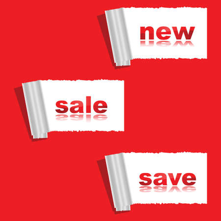 ripped: Concept illustration showing a ripped red paper with messages for new, sale, and save underneath Illustration