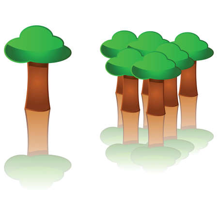 Glossy illustration showing a tree and a forest a little further apart