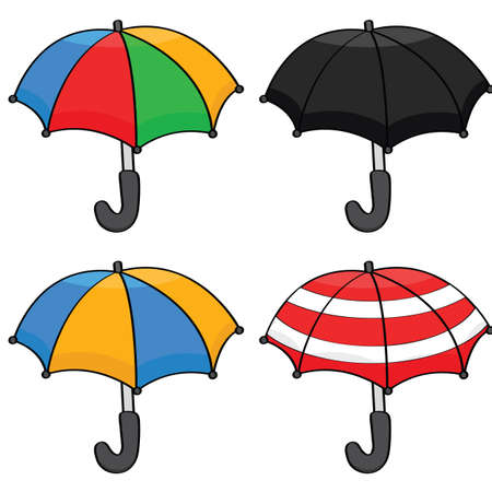 Cartoon illustration showing a set of different color and pattern umbrellas