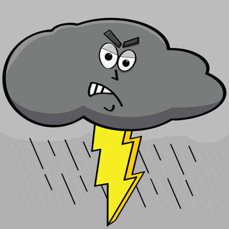 flood: Cartoon illustration showing an angry dark cloud with lightning coming out of it