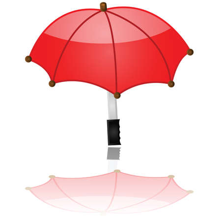 drizzle: Glossy illustration showing a red umbrella reflected on a white surface Illustration