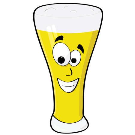 alcoholist: Cartoon illustratie van een glas bier met een blij gezicht