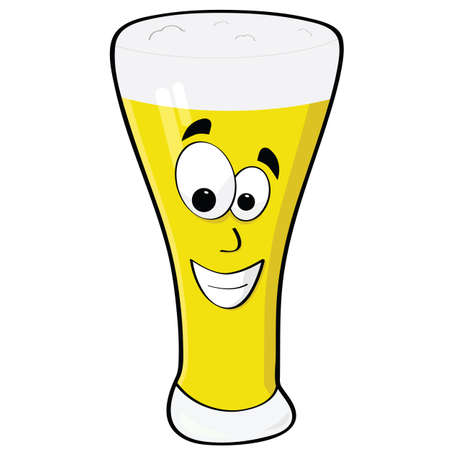 Cartoon illustration of a glass of beer with a happy face Çizim