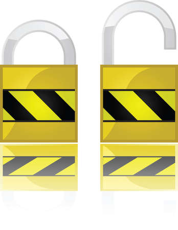 Glossy illustration showing two padlocks, one open and one closed Çizim