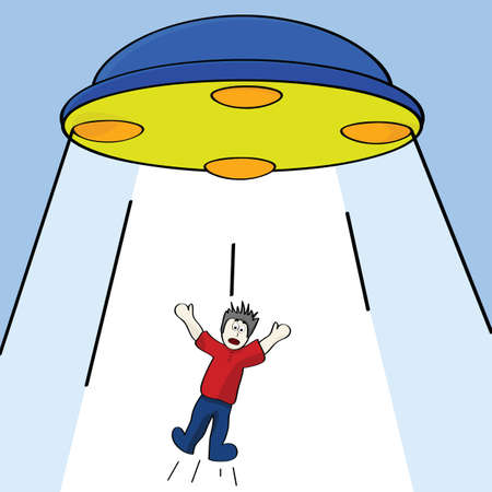 Cartoon illustration showing a man being abducted by a flying saucer