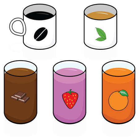 cold coffee: Cartoon illustration showing different hot and cold breakfast beverages