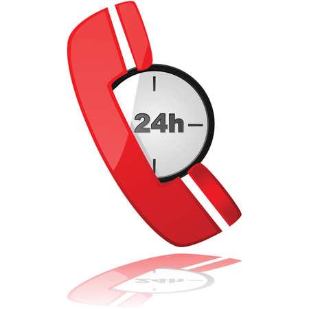 24 時間対応のサービスを象徴する、時計の上電話アイコンを示す光沢のある図