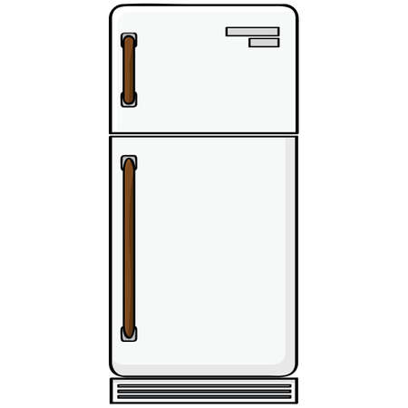 Cartoon illustration showing an old-style refrigerator model