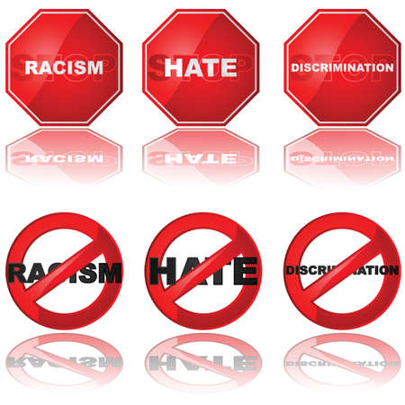 Set of icons showing a stop sign and a forbidden sign combined with the words racism, hate, and discrimination Ilustração