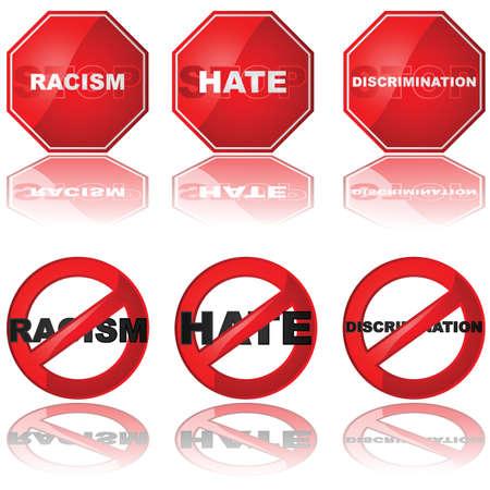racisme: Set van pictogrammen van een stopbord en een verboden teken in combinatie met de woorden 'racisme', 'haat' en 'discriminatie'