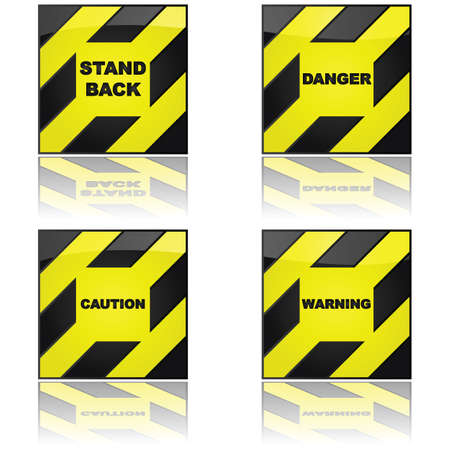 Set of glossy illustration showing four different warning signs, reflected on a white surface Stock Vector - 9584627
