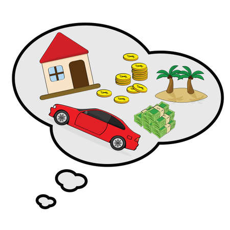 daydream: Cartoon illustration showing a thought bubble with things a person is wishing for: house, car, money and a tropical island